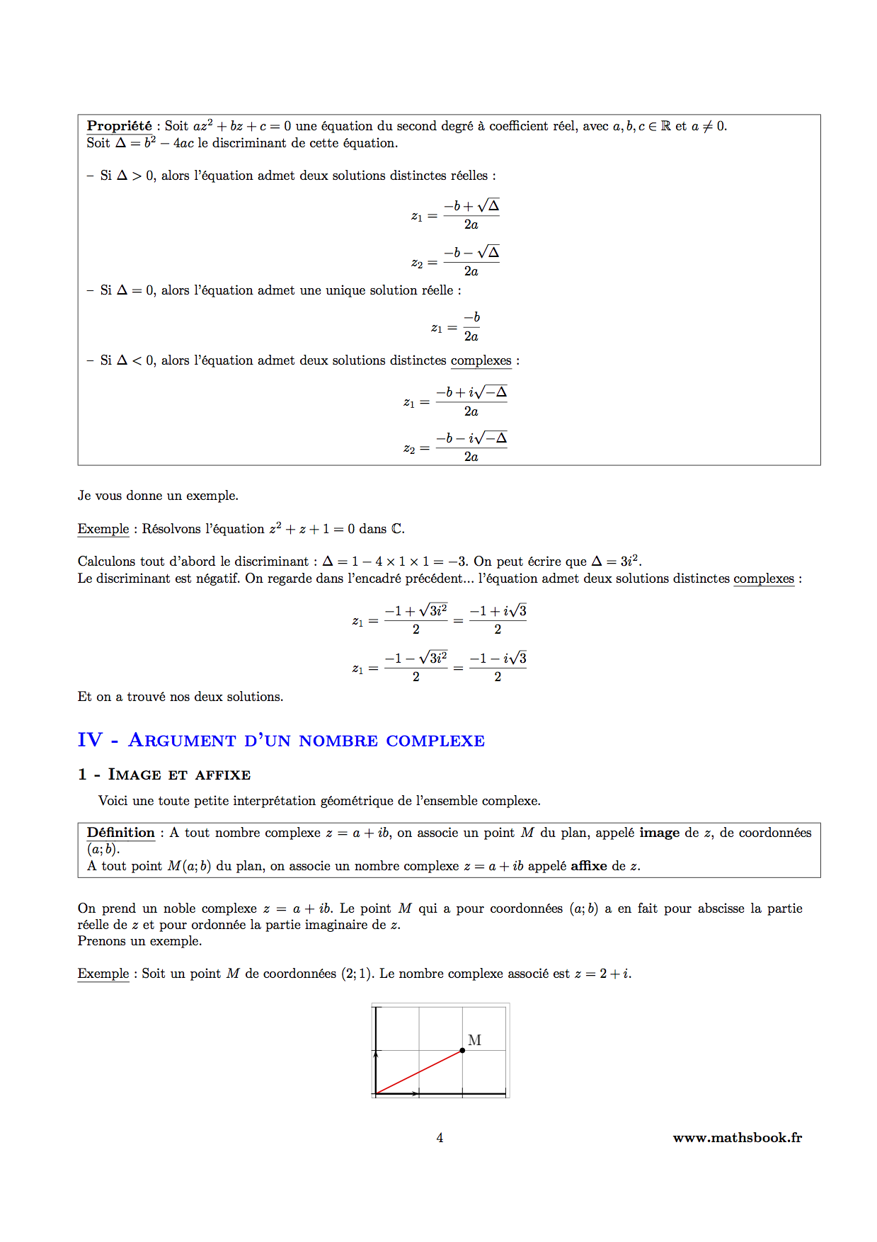 resolution equation second degre complexe